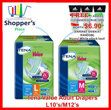 [Free Delivery]TENA Value Adult Diapers Available in M/L Carton Sale M12s/L10s