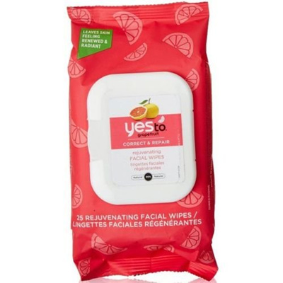 Yes To Grapefruit Correct & Repair Brightening Facial Wipes, 25 ct (Pack of 3) + Makeup Blender Dickinsons Witch Hazel All Natural Astringent 8 oz (Pack of 3)