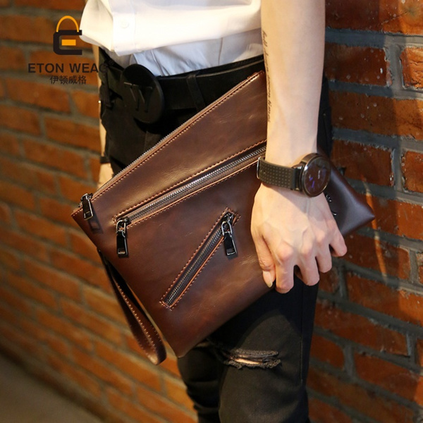 Men s hands an envelope bag Korean man bag retro Polished leather hand bag clutch bag IPAD bag rivet Deals for only S$39.48 instead of S$0