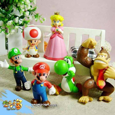 6pcs Cute Super Mario Bros Game Action Figures Cake Toppers Doll Kids Toy Gift