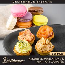Delifrance Bundle of 30 Assorted Macarons  Mini Tart Canapés