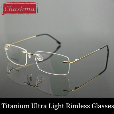50c7c59c8bc4 Chashma Women and Men Prescription Spectacles Light Rimless Optical Glasses  Frame with Clear Lenses