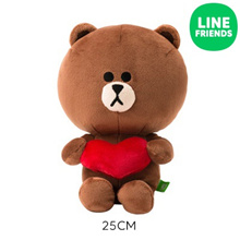 [LINE FRIENDS] CUDDLE DOLL 25cm_BROWN (HEART)