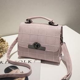 [PRE-ORDER] Pink Holdings Sling Crossbody Bags 缝线锁扣手提斜挎小方包粉红色