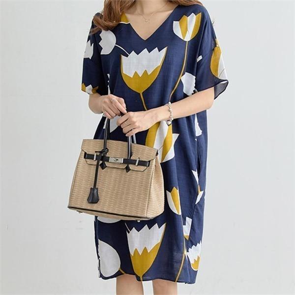 ペッパーフェミニンフラワーパターンワンピース34735 new プリントワンピース/ワンピース/韓国ファッション