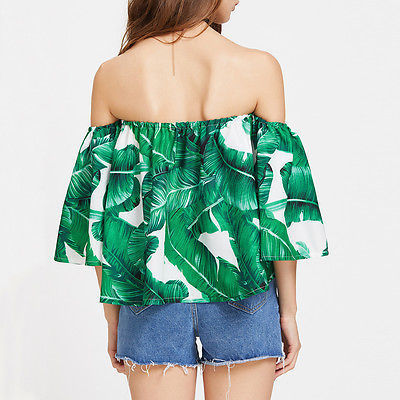 ef016f6f7e authentic Women Blouses 2017 Tropical Green Palm Leaf Print Sexy Off  Shoulder Beach Summer Tops Fash