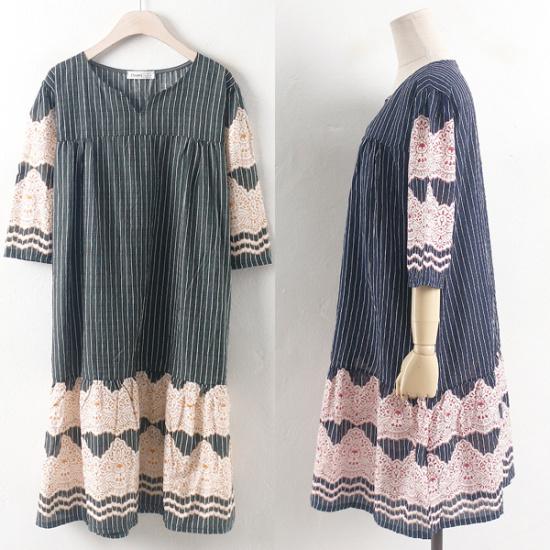 ウィスィモールIWボニーアンティークワンピースRI1707 綿ワンピース/ 韓国ファッション