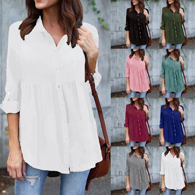 ded1d501e20 Amazing Goods Womens Plus Size Solid Long Sleeve Casual Chiffon Ladies OL  Work Top T Shirt