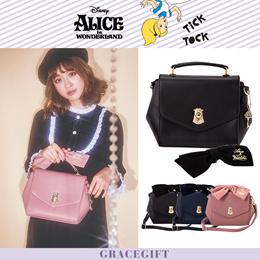 Gracegift-Disney Alice In Wonderland Ribbon Doorknob Bag/Women/Ladies/Girls Shoes/Taiwan Fashion