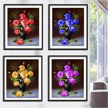 5D Diy Diamond Painting Blue Rose Flower Diamond Embroidery Cross Stitch Wall Sticker Home Decoratio