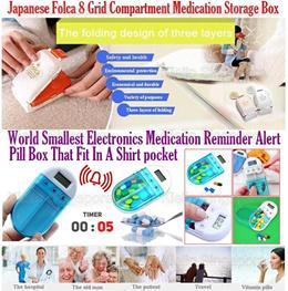 Folca 8 Grid Compartment Medication Organizer|Smallest Electronic Medication Reminder Alert Pill Box