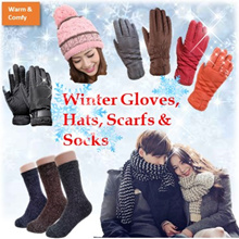 LADIES AND MEN/ WINTER TOUCH SCREEN GLOVES/ SCARFS/ HATS/ SOCKS/ INNER FUR/ WARM/ COMFY/ WINTER WEAR