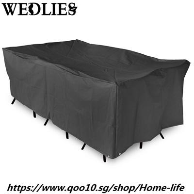Qoo10 Sale Black Polyester Garden Patio Table Cover Waterproof