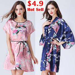 Night Robes plus size women sleepwear sexy silk nightdress lady pajamas  flower 27a76c72a