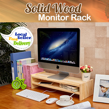 [100% Solid Wood] Monitor Stand Rack Office Desktop Table Desk Shoulder Neck Strain Computer