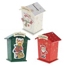 Cute Cartoon Wood Christmas House Piggy Bank Party Xmas New Year Home Decor Money Coin Box Ornament
