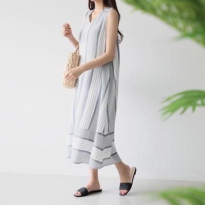 [PUR-PLE官方旗艦店]條紋款無袖連身裙