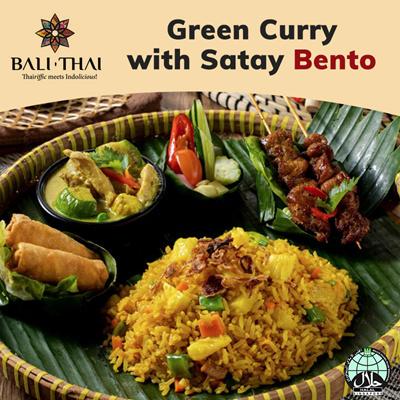 B2 Green Curry with Satay Bento