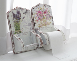 Vintage Wood Floral Toilet Paper Holders Gifts Home Decor