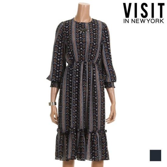 ・ビジット・インニューヨークオリエンタル・プリンティングロングワンピースVTHOP34 面ワンピース/ 韓国ファッション