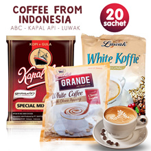Best coffee from Indonesia | famous brand in Indonesia | ABC - KAPAL API - LUWAK | 20 Sachets