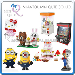 sale Mini Qute ZRK Cartoon Led Crane Game Happy Birthday Set mario Game machine plastic building blo