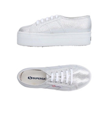 Superga Silver Platform Sneakers Women 41 Shoes 9.5 metallic lace up
