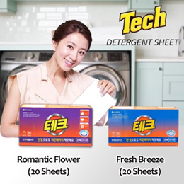 [TECH] Laundry Detergent Sheet/Fresh Breeze/Romantic Flower/20sheets