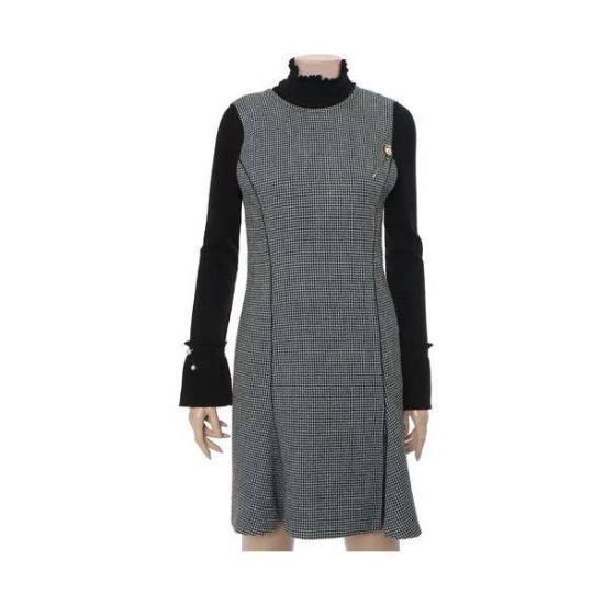 ナイスクルラプ一チェイル毛織チェックワンピースN164MSE016 シフォン/レース/フリル/ 韓国ファッション