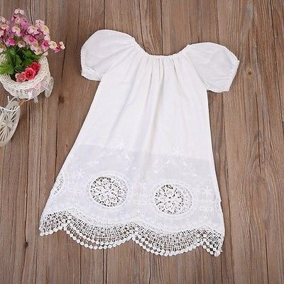 7e09e1141 Qoo10 - 2017 Summer Princess White Lace Toddler Baby Girl Dress Kids ...