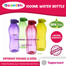 Authentic Tupperware Aquasafe Eco Fliptop Water Bottle 1000ml *BPA Free*School Cycle Sports Birthday