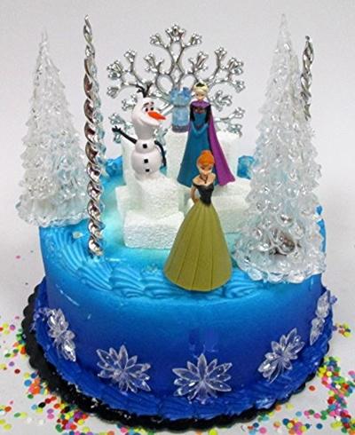 Winter Wonderland Princess Elsa Frozen Birthday Cake Topper Set Featuring Anna Olaf And