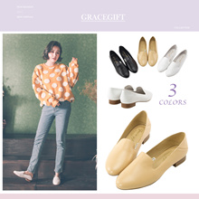 Gracegift-Classic Real Leather 2 Ways Simplistic Loafers/Women/Ladies/Girls