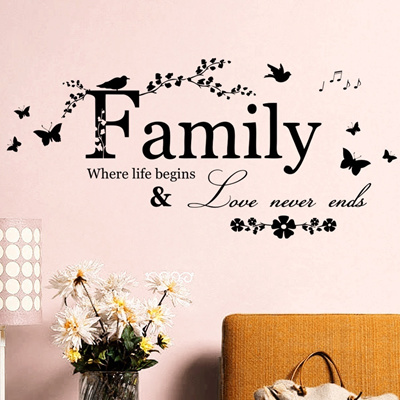 Family Wall Sticker House Living Room Wall Decor Stickers Quotes Love Never Ends Flower Wall Paper