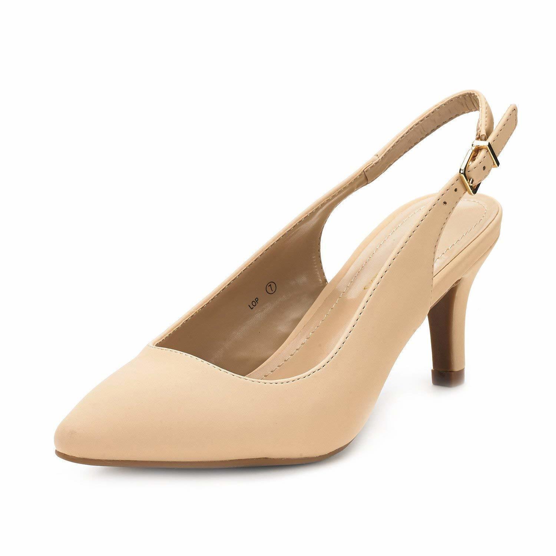 DREAM PAIRS Womens LOP Low Heels Slingback Pump Shoes