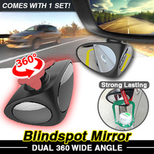 360° Adjustable Wide Angle DUAL Blindspot Mirror / Cars Motorcycle / Front and Rear Safety