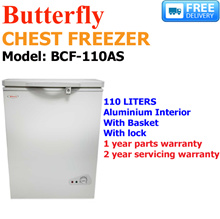 BUTTERFLY - CHEST FREEZER - 110L - ALUMINIUM INTERIOR - W/BASKET - W/LOCK - MODEL: BCF-110AS - WARRANTY: 1 YEAR PARTS AND 2 YEARS SERVICES - FREE DELIVERY AND INSTALLATION!