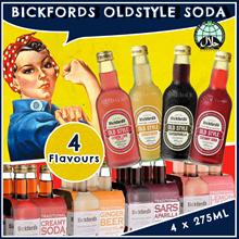 [Bickfords] Old Style Soda. Bundle of 4. Ginger Beer/Creamy Soda/Sarsaparilla/Lemon and Lime Bitters