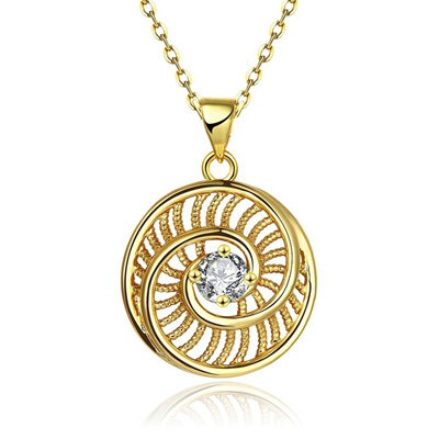Gold Plated Hollow Out Spiral Stair Shape Zircon Necklace Women Fashion Jewelry