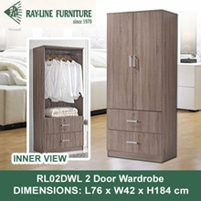 [RayLine Trading] RL02DWL 2 Door Wardrobe With 2 Drawers + Lock | DELIVERY AND INSTALLATION PROVIDED