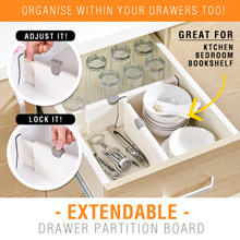 ★ Extendable Drawer Partition Board ★ Cupboard Wardrobe Compartment Divider Organiser