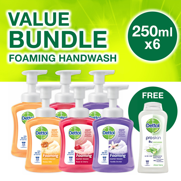 6 x 250ml Dettol Foaming Hand Wash Honey Milk/Rose Cherry/Vanilla Orchid Free 250ML Aloe Vera Gel Deals for only S$28.65 instead of S$28.65