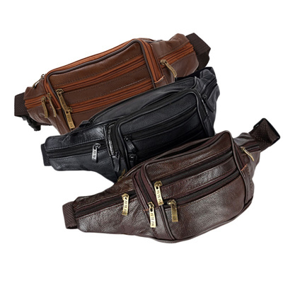 a0bb53d896cd Men s Vintage Leather Messenger Bag Waist Pack Pouch Hiking 0819MOtorcycle  Outdoor ORC