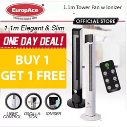 *Buy 1 Free 1* EUROPACE 1.1M TOWER FAN WITH REMOTE and IONISER (Black) - 15 MONTHS E-WARRANTY*