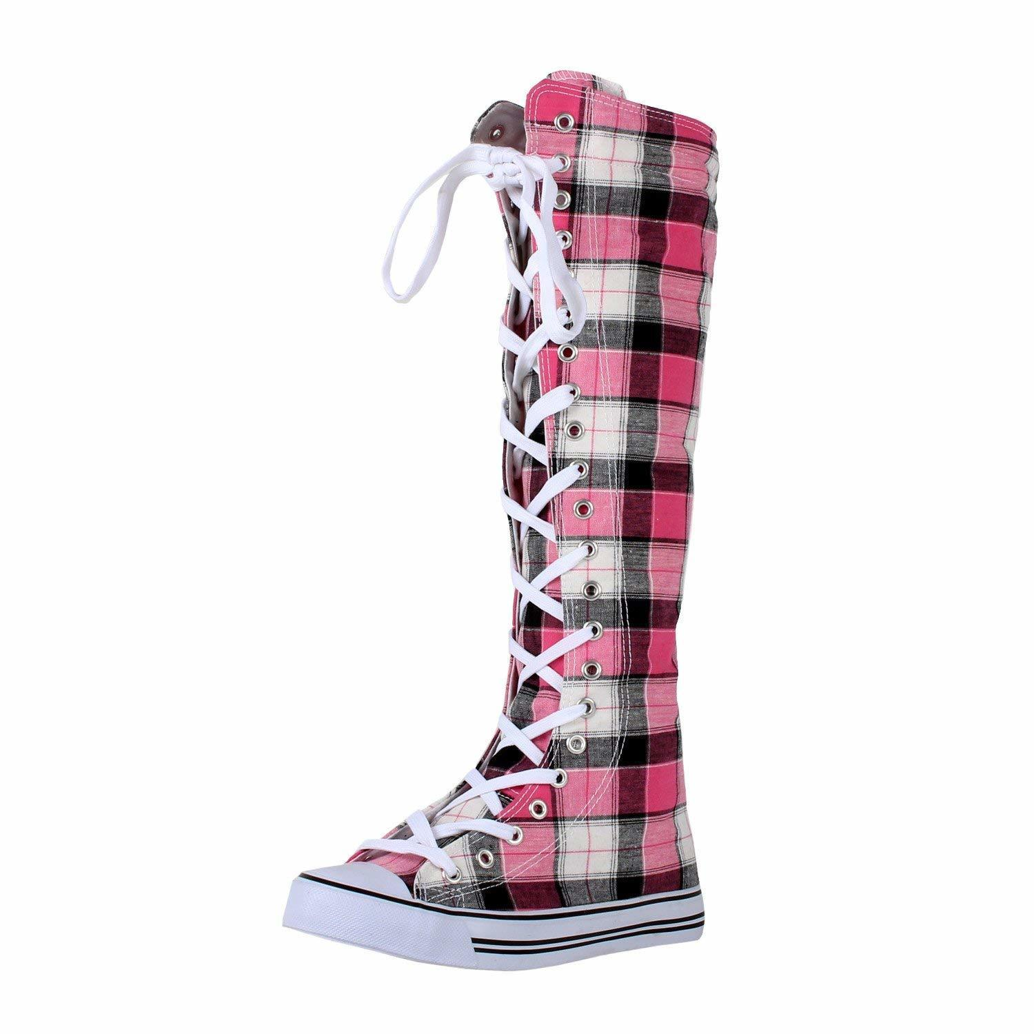 6246f2b3531807 fit to viewer. prev next. DW Womens Tall Canvas Lace up Knee High Sneakers