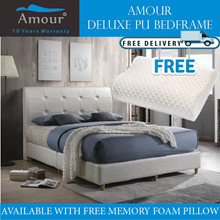Amour Brand Deluxe PU leather bed Single size/Super Single size/Queen size/King size Free Pillow