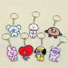 8 Style KPOP BTS Keychain BT21 Bangtan Boys Key Ring Key Organizer