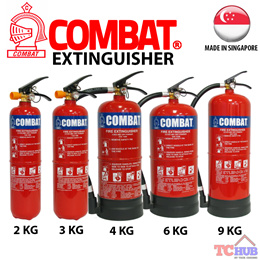 Combat ABC Powder Fire ExtinguisherCome in weight 2-9KG.Made in Singapore with Approved Certification.Outdoor UV Resistance Coated