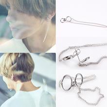 1Pair KPOP BTS V Earrings Bangtan Boys V Stud Doulbe Ring Chain Earrings