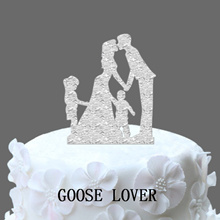 Family Wedding Cake Topper With Brother And Sister  Bride And Groom Silhouette  Rustic  Funny Cake T